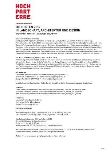 die Besten 2012 in landschaft, architektur und design