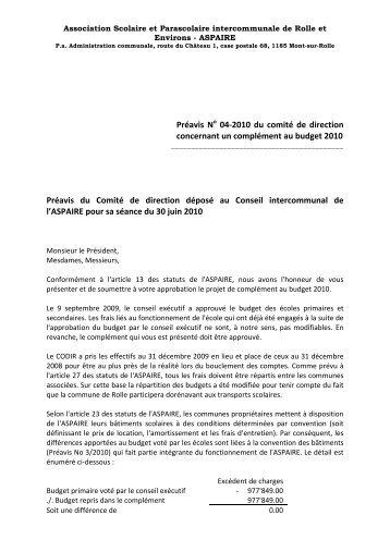 Préavis N 04-2010 du comité de direction concernant un ... - aspaire