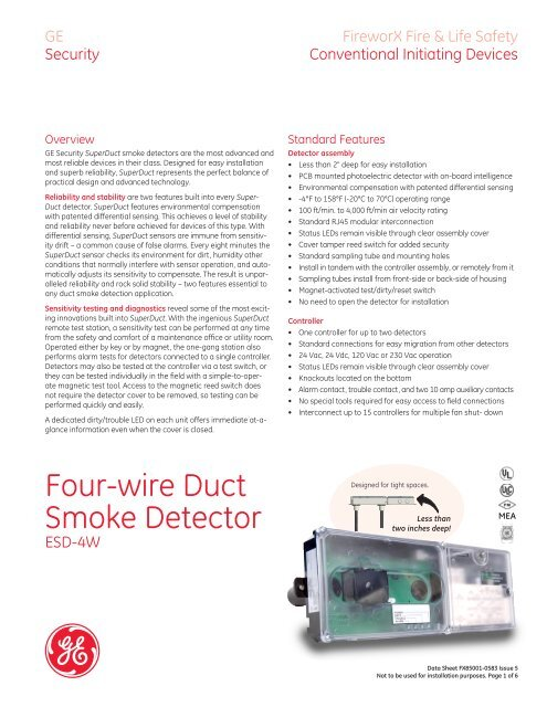 Four-Wire SuperDuct Duct Smoke Detector