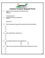 Custom Product Request Form - Harmsco