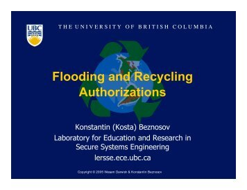 Flooding and Recycling Authorizations - LERSSE