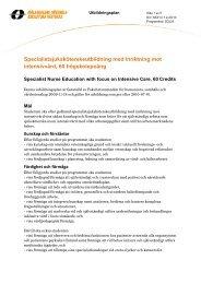 Specialistsjuksköterskeutbildning med inriktning mot intensivvård ...