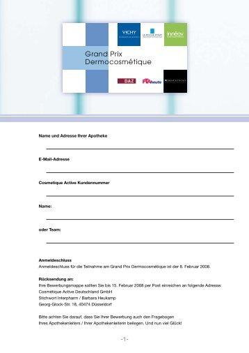 Name und Adresse Ihrer Apotheke E-Mail-Adresse Cosmetique ...