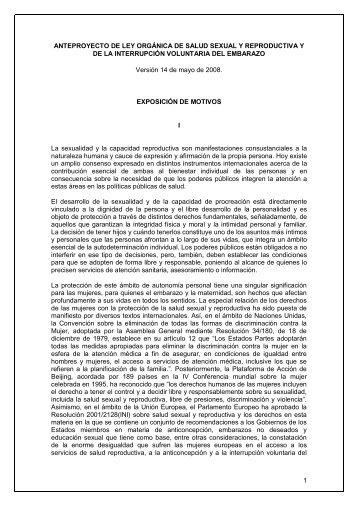 Anteproyecto de ley orgánica de salud sexual y reproductiva y de la
