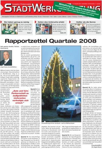 Rapportzettel Quartale 2008 - Stadtwerke Finsterwalde