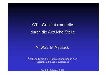 CT – Qualitätskontrolle durch die Ärztliche Stelle