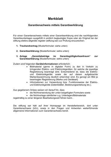 merkblatt stiftung elektro altgerte register - Treuhandvertrag Muster