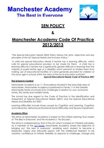 SEN POLICY & Manchester Academy Code Of Practice 2012/2013