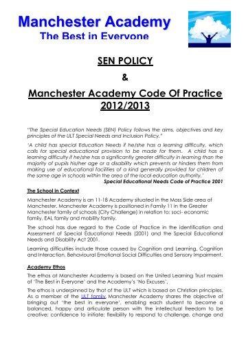 SEN POLICY & Manchester Academy Code Of Practice 2012/2013