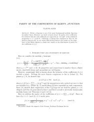 PARITY OF THE COEFFICIENTS OF KLEIN'S j-FUNCTION 1 ...
