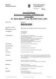 Ausschreibung TC HEILBRONN am TRAPPENSEE 1892 - WTB
