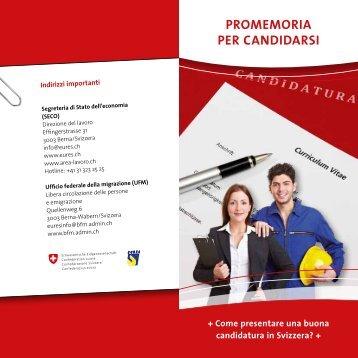 PROMEMORIA PER CANDIDARSI - eures