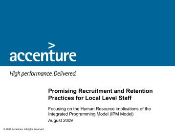 Good Practices in Recruitment, Engagment and - World Vision ...