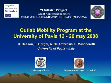 Outlab Mobility Program at the University of Pavia 12 - 26 may ...