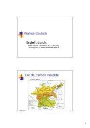 Walliserdeutsch Erstellt durch: Die deutschen Dialekte