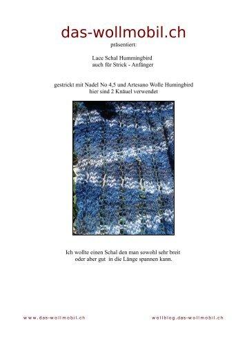 Anleitung Hummingbird Lace Schal - Wollmobil