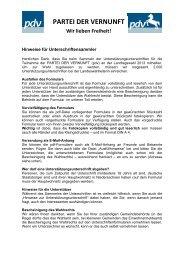 Hinweise für Unterschriftensammler - Partei der Vernunft in Göttingen