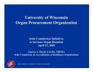 JCAHO Commitment to Organ Donation (pdf) - UW Health
