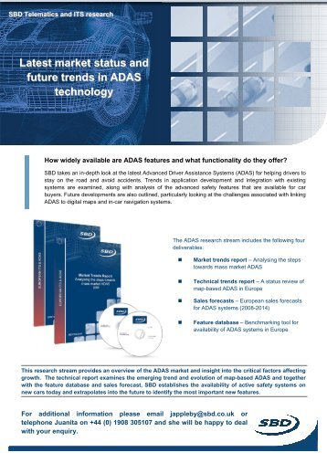Latest market status and future trends in ADAS technology - SBD