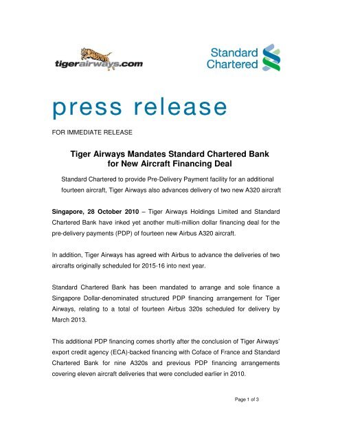 Tiger Airways Mandates Standard Chartered Bank for New Aircraft