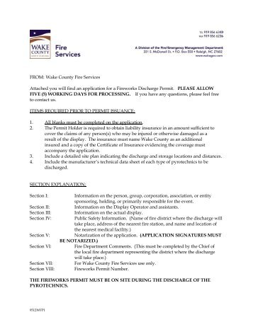 Fireworks Permit Application - Wake County Government