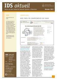 IDS aktuell Oktober 2012 - Institut für Deutsche Sprache