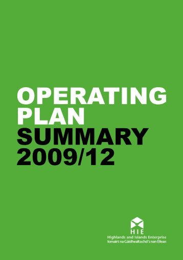 Highlands & Islands Enterprise operating plan ... - Moray Performs