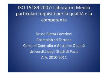 ISO 15189 2007 - Università degli studi di Pavia