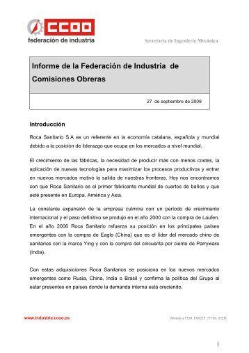 Informe de la Federación de Industria de Comisiones Obreras