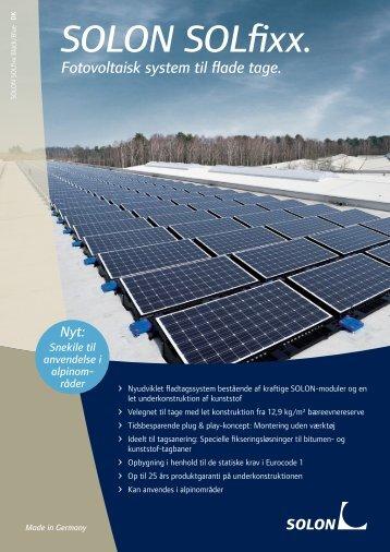 SOLON SOLfixx. Fotovoltaisk system til flade tage.