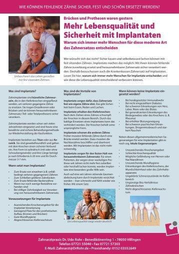 Mehr Lebensqualität und Sicherheit mit Implantaten - DrRohr.de