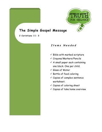 The Simple Gospel Message - Truth For Children