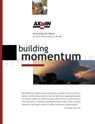 Seond Quarter Report - AXMIN Inc.