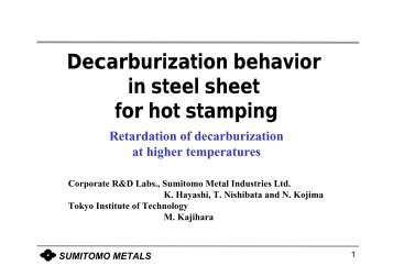 Decarburization Behaviour in Sheet Steel for Hot Stamping - alemi.ca
