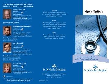 Hospitalists Brochure (pdf) - St. Nicholas Hospital