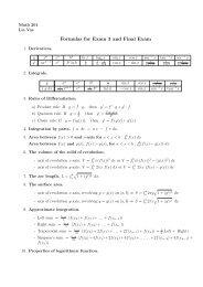 Formulas for Exam 3 and Final Exam