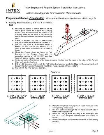 Intex Engineered Pergola System Installation Instructions Note