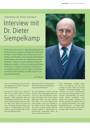 Interview mit Dr. Dieter Siempelkamp