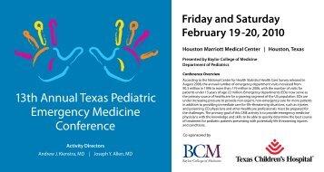 13th Annual Texas Pediatric Emergency Medicine ... - CME Activities