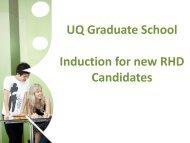 UQ Graduate School Induction for new RHD Candidates - School of ...
