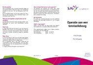 Tenniselleboog, operatie aan - SJG Weert