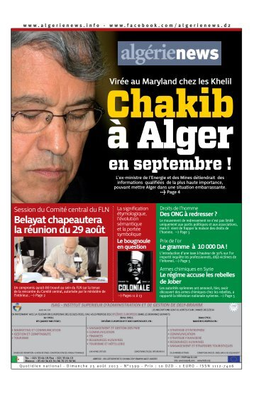 Fr-25-08-2013 - Algérie news quotidien national d'information