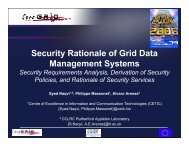 Security Rationale of Grid Data Management Systems - CoreGRID ...