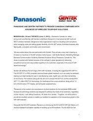 Panasonic Canada Inc. has entered into a partnership with Gentek ...