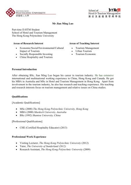 View profile - School of Hotel & Tourism Management - The Hong ...
