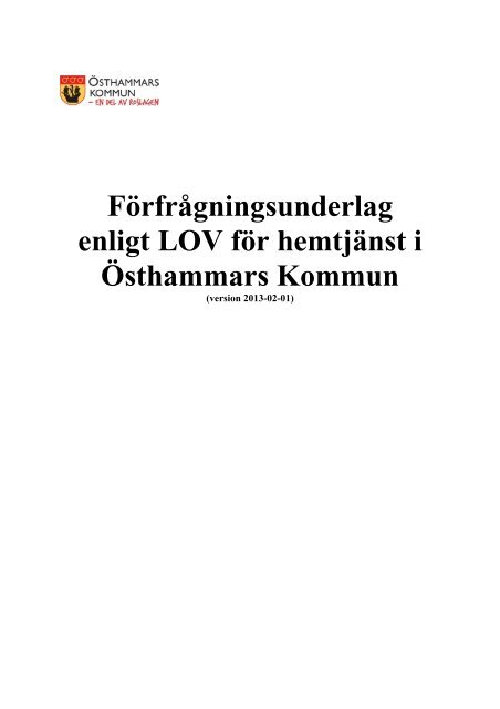 Förfrågningsunderlag (pdf) - Östhammars kommun