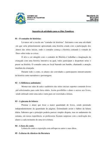 Sugestões de atividades para os Dias Temáticos 01 - O contador de ...