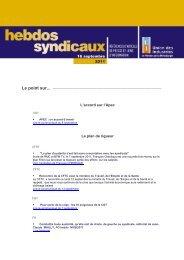 les Hebdos syndicaux du 16 septembre 2011