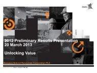 2012 Preliminary Results Presentation 20 March 2013 ... - ENRC