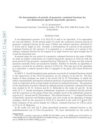 On determination of periods of geometric continued fractions for two ...